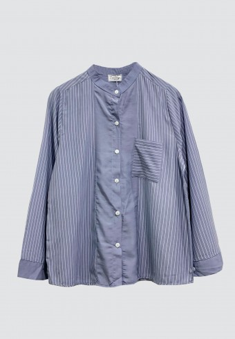 KOREAN STYLE STRIPED TOP IN BLUE GREY