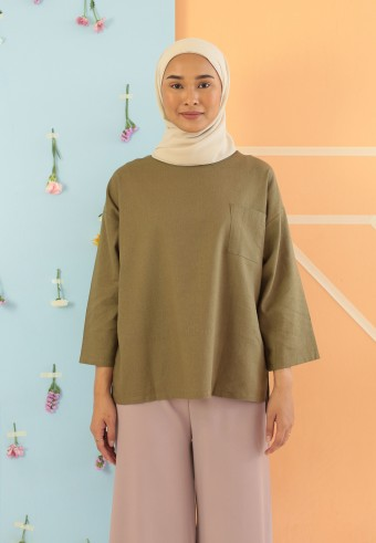 LINEN TOP IN ARMY GREEN