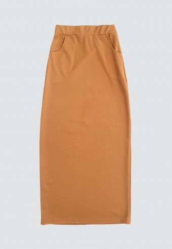 DOUBLE POCKET PENCIL SKIRT IN BROWN