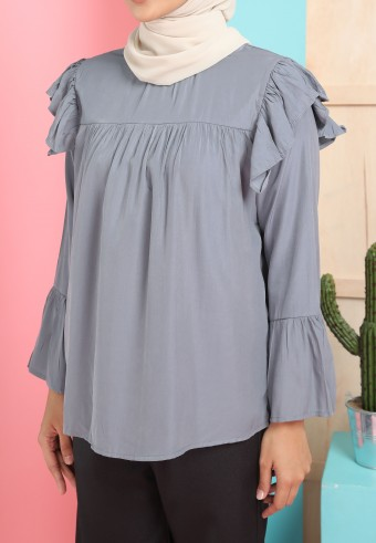 HIGH NECK RUFFLE SHOULDER TOP IN GREY