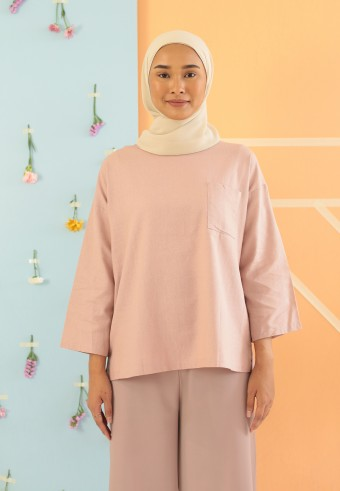 LINEN TOP IN DUSTY PINK