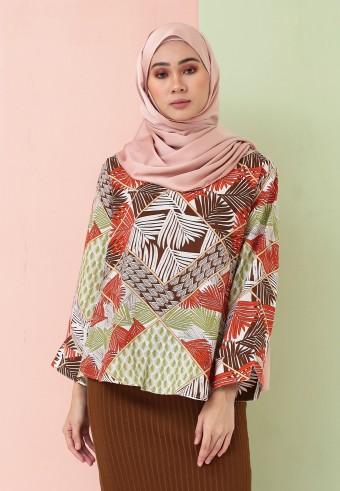SUMMER PRINTED TOP IN ORANGE & GREEN