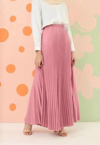 CREPE PLEATED SKIRT IN PINK