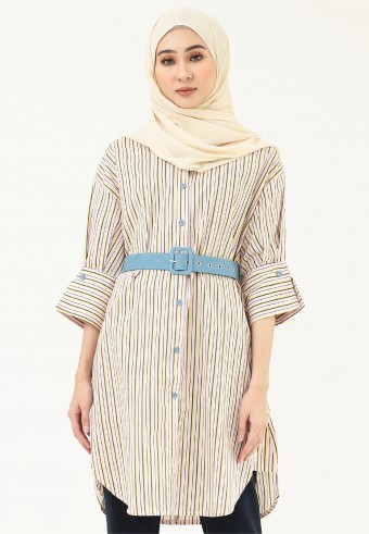 STRIPES LONG TOP WITH BELT IN PINK
