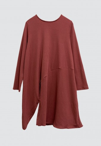 SLIT IRONLESS LONG TOP IN ROSE