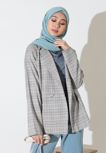 CHECKERED BLAZER IN BROWN & BLUE