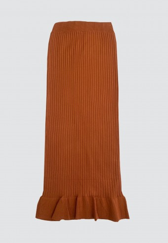 STRETCHABLE SLIM FIT SKIRT WITH RUFFLES IN BROWN