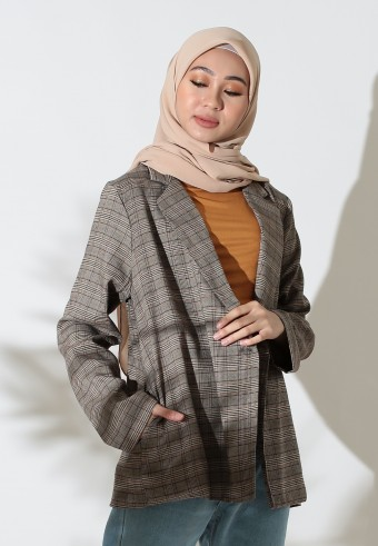 CHECKERED BLAZER IN BROWN