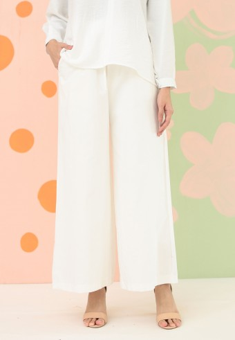 COTTON WIDE PALAZZO PANT IN  WHITE