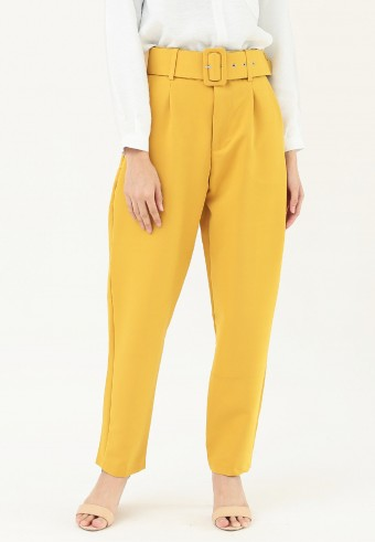 HIGH WAIST TAPPERED PANT IN MUSTARD