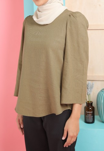 BELL SLEEVE LINEN TOP IN ARMY GREEN