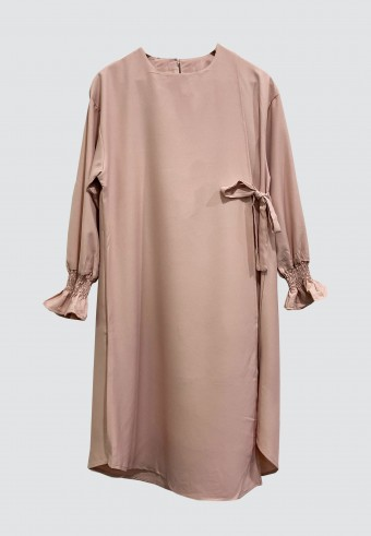 CROSSOVER PLAIN LONG TOP IN DUSTY PINK