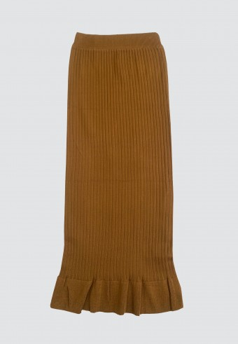 STRETCHABLE SLIM FIT SKIRT WITH RUFFLES IN OLIVE