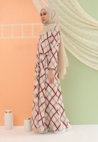 CHECKERED LONG DRESS IN CREAM