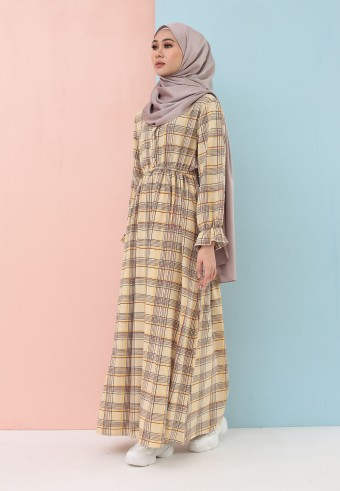 PLAID LONG DRESS IN CREAM