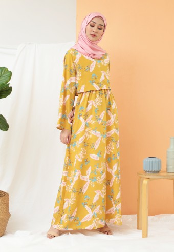 FLORAL LONG DRESS IN MUSTARD
