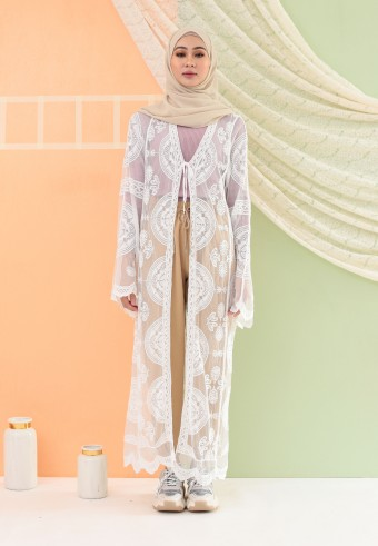 SUMMER LACE LONG CARDIGAN IN WHITE