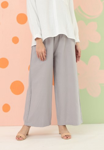 COTTON WIDE PALAZZO PANT IN GREY