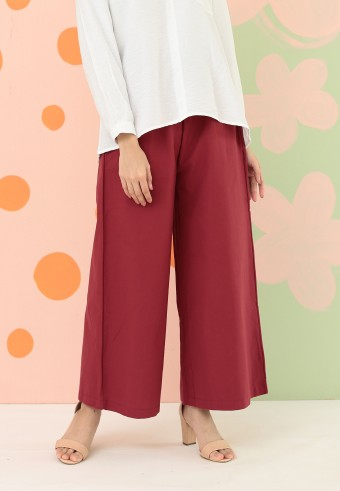 COTTON WIDE PALAZZO PANT IN RED
