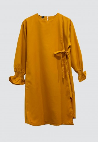CROSSOVER PLAIN LONG TOP IN MUSTARD