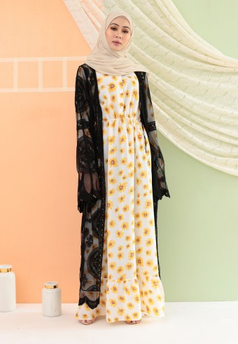 SUMMER LACE LONG CARDIGAN IN BLACK