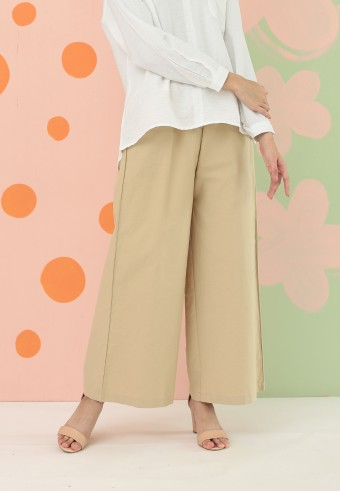 COTTON WIDE PALAZZO PANT IN SANDY GREEN