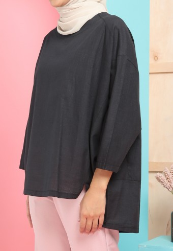 OVERSIZED BATWING LINEN TOP IN BLACK