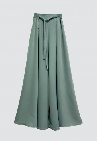 SILK WIDE PALAZZO PANT IN MINT