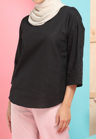 THREE QUARTER SLEEVE LINEN TOP IN BLACK