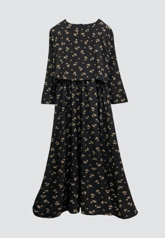 ENGLISH PRINTED FLOWER LONG DRESS IN BLACK