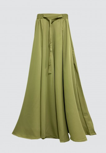 SILK WIDE PALAZZO PANT IN DUSTY GREEN