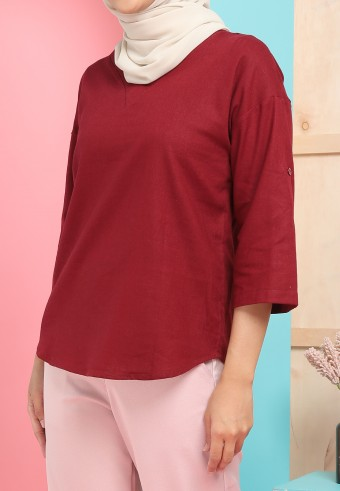 THREE QUARTER SLEEVE LINEN TOP IN MAROON