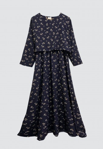 ENGLISH PRINTED FLOWER LONG DRESS IN NAVY BLUE