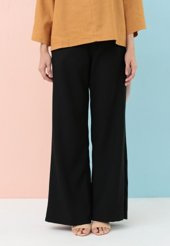 BOOTCUT COTTON PANT IN BLACK