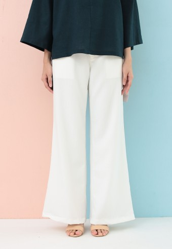 BOOTCUT COTTON PANT IN WHITE