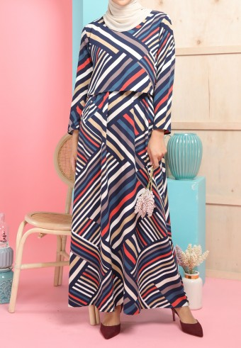 REG STRIPES LONG DRESS IN NAVY BLUE