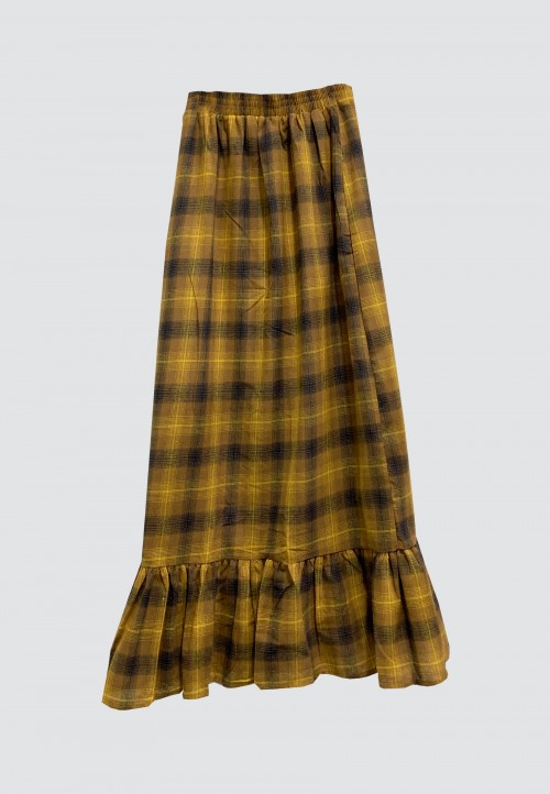 PLAID SKIRT WITH RUFFLES IN MUSTARD