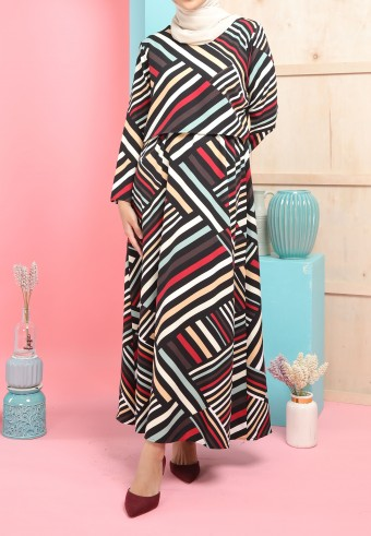 REG STRIPES LONG DRESS IN BLACK & RED