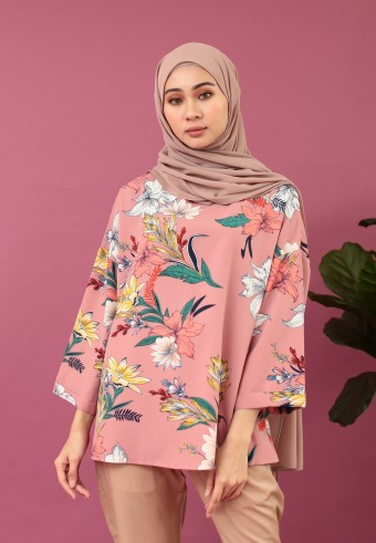 DROP SHOULDER PRINTED FLOWER TOP IN DUSTY PINK