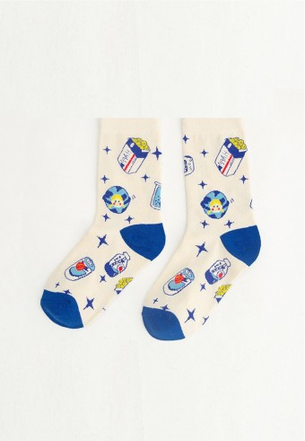 QUARTER GALAXY SOCKS IN BLUE & WHITE