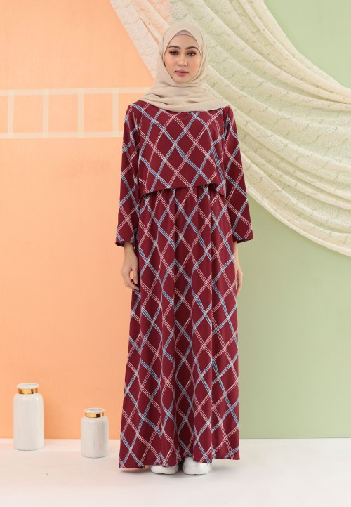 CHECKERED LONG DRESS IN MAROON
