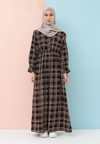 PLAID LONG DRESS IN BLACK
