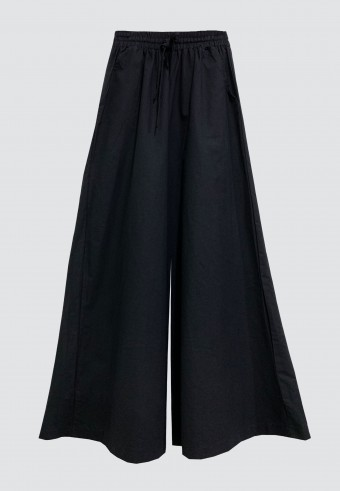 COTTON WIDE PALAZZO PANT IN BLACK