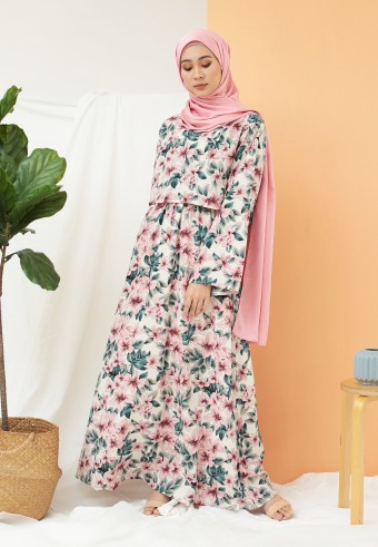 FLORAL LONG DRESS IN PINK