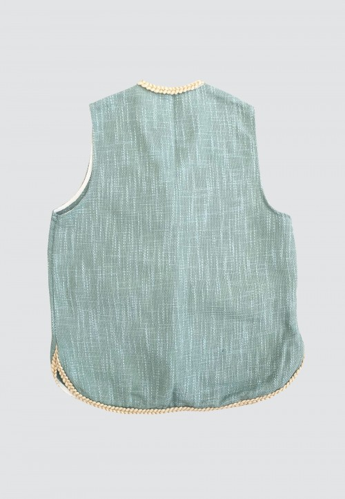 SLEEVELESS CARDIGAN IN MINT GREEN