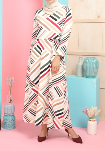 REG STRIPES LONG DRESS IN WHITE