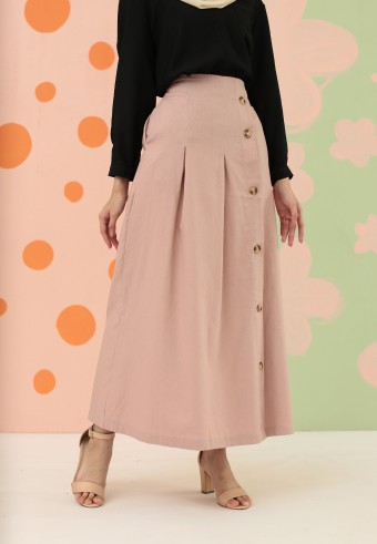 SIDE BUTTON DOWN SKIRT IN DUSTY PINK