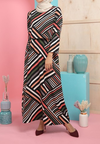REG STRIPES LONG DRESS IN BLACK & PEACH