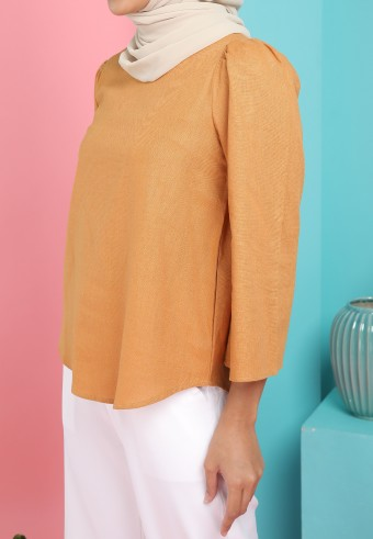 BELL SLEEVE LINEN TOP IN DARK PEACH