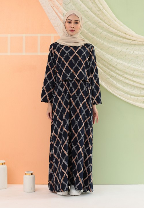 CHECKERED LONG DRESS IN NAVY BLUE